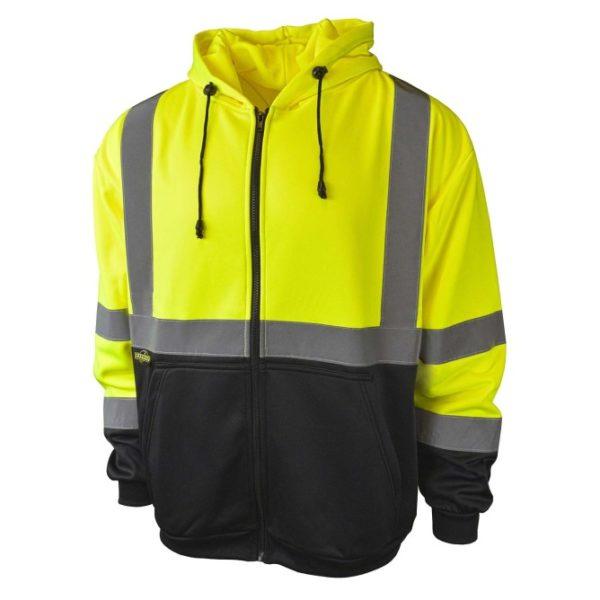 Radians L Type R Class 3 Hi-Viz Green Hooded Sweatshirt with Zipper and Color Blocked Black Bottom SJ01B-3ZGS-L - Large