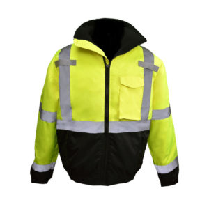 Radians 2XL Class 3 Hi-Viz Green Bomber Jacket with Quilted Liner and Color Blocked Black Bottom SJ11QB-3ZGS-2XL- Double Extra Large