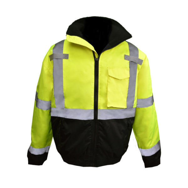 Radians XL Class 3 Hi-Viz Green Bomber Jacket with Quilted Liner and Color Blocked Black Bottom SJ11QB-3ZGS-XL - Extra Large